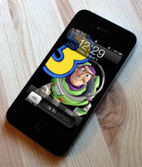 iPhone 4 with Buzz Lightyear unlock screen.